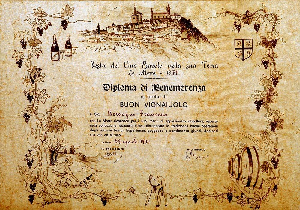 Diploma di Benemerenza a Francesco Borgogno